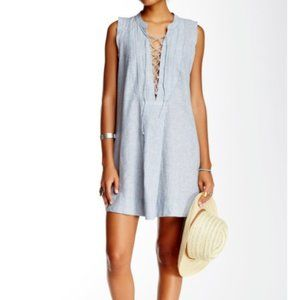 Free People Poppin Off Lace-Up Mini Dress Size Med